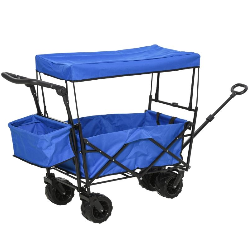 DURHAND Carro Transporte Plegable de Playa Jardín Champing Viaje con Toldo y Manillar Cuatro Ruedas Regulable en Altura de 110x56x101cm Azul