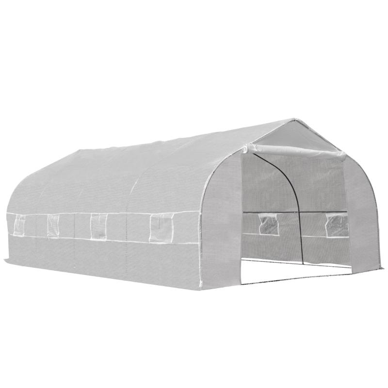 Outsunny Invernadero de Jardín 600x300x200 cm Tipo Túnel para Cultivo Plantas Verduras con 8 Ventanas Transpirables y Puerta Enrollable con Cremallera Acero Blanco