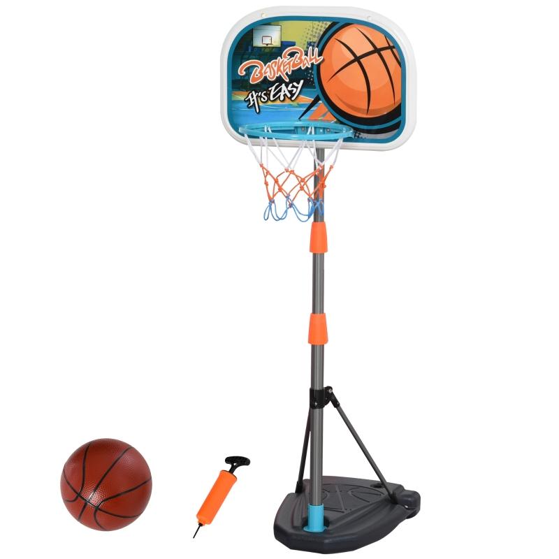 HOMCOM Canasta de Baloncesto para Niños Aro Baloncesto con Soporte Altura Ajustable y Base Rellenable Incluida Interior y Exterior 32x65x126-158 cm