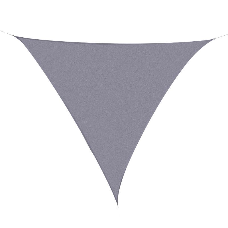Outsunny Toldo vela Triangular 4x4x4 metros Toldo tipo Sombrilla Parasol Triángulo de Poliéster para Jardín Playa Camping Color Gris