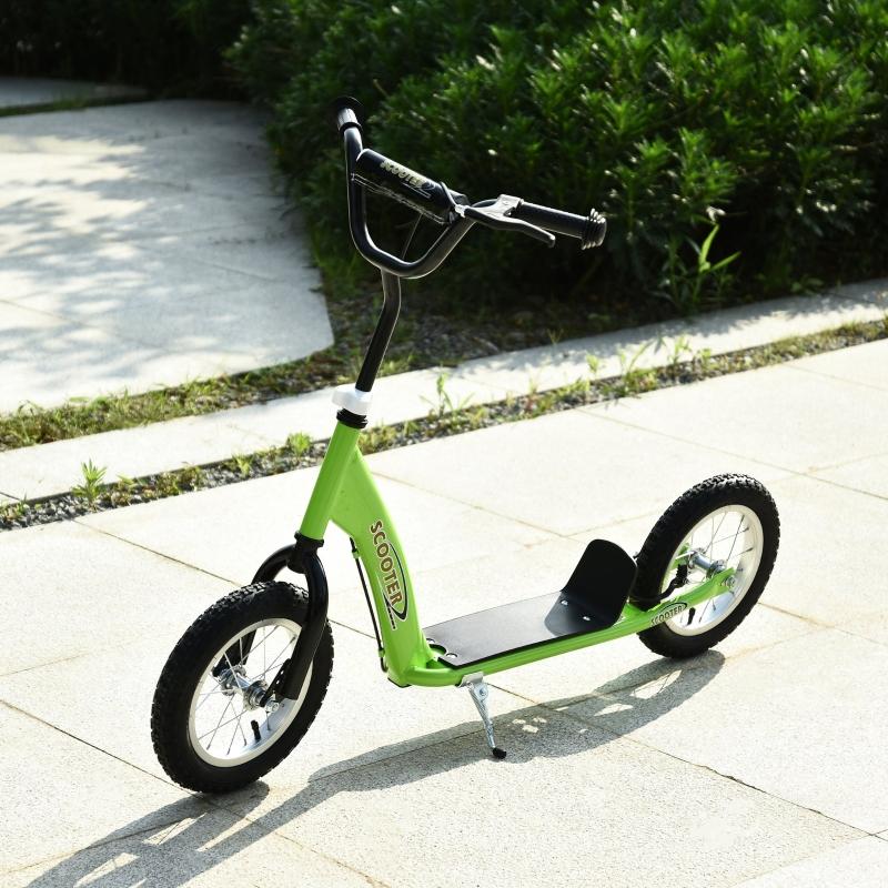 HOMCOM Patinete para Niños Mayores de 5 Años Scooter 2 Neumáticos Inflables de Caucho con Frenos Manillar Ajustable 117x52x80-85 cm Verde