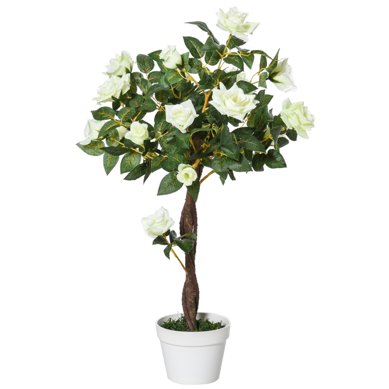 Outsunny Planta Artificial de 90 cm Rosa Blanca Realista con 21 Flores y 350 Hojas Maceta de Cemento Incluida para Interior y Exterior Verde
