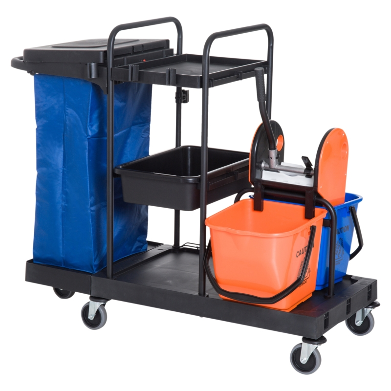 HOMCOM Carro de Limpieza Profesional con Escurridor de Palanca con 3 Estantes y 2 Cubos de Fregar de 18L Bolsa con Tapa Ruedas 111x63,3x103 cm Negro Azul y Naranja