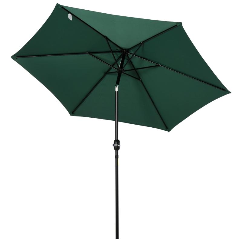 Outsunny Sombrilla Parasol Reclinable con Manivela de Aluminio con Tela de Poliéster para Jardín Patio Terraza - Φ2.7x2.35m Verde