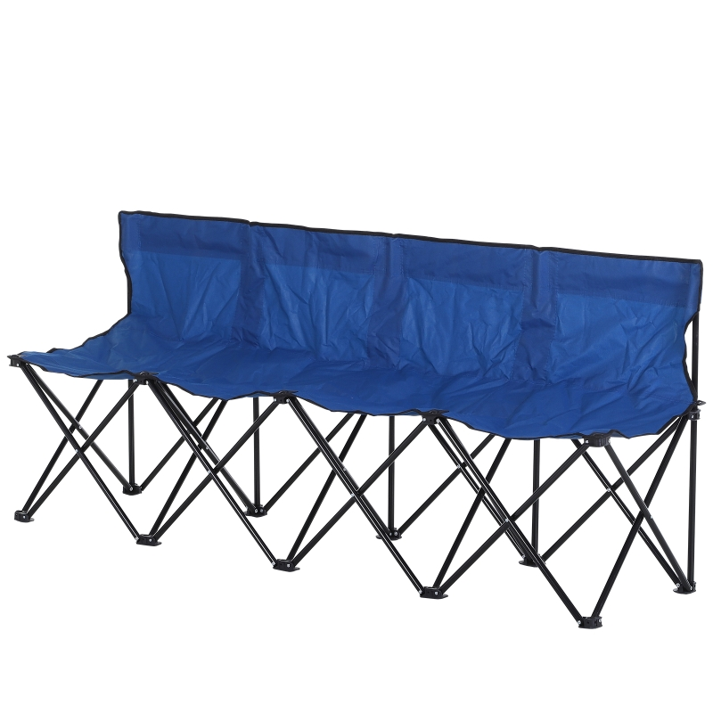 Outsunny 4-Seater Folding Steel Camping Bench w/ Cooler Bag Blue