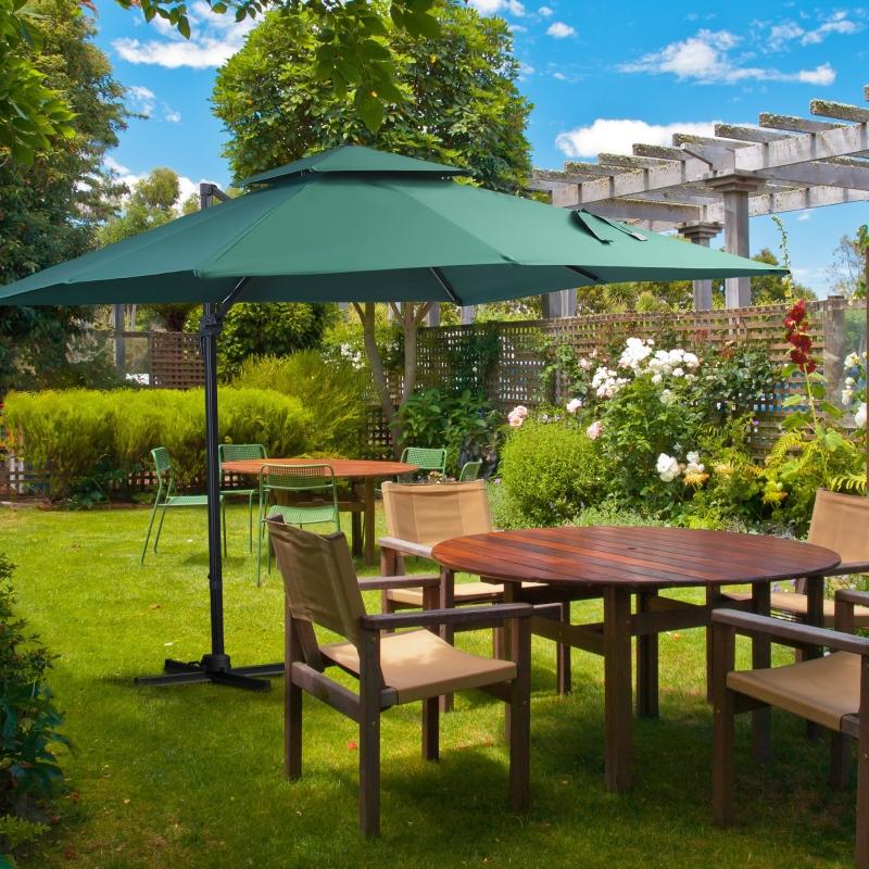 Outsunny Sombrilla de Jardín 300x300 cm Parasol Rectangular con Manivela Poste Giratorio 360° Doble Techo Inclinable en 6 Posiciones Base Cruzada Incluida Verde