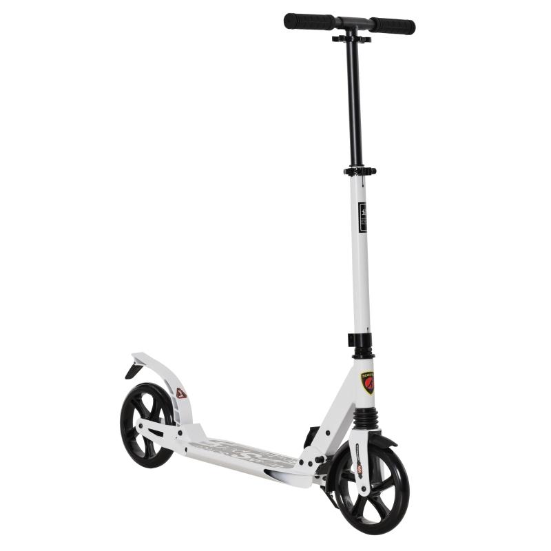 HOMCOM Foldable Kick Scooter, Adjustable Height, 94L x 38W x 90-105Hcm-White