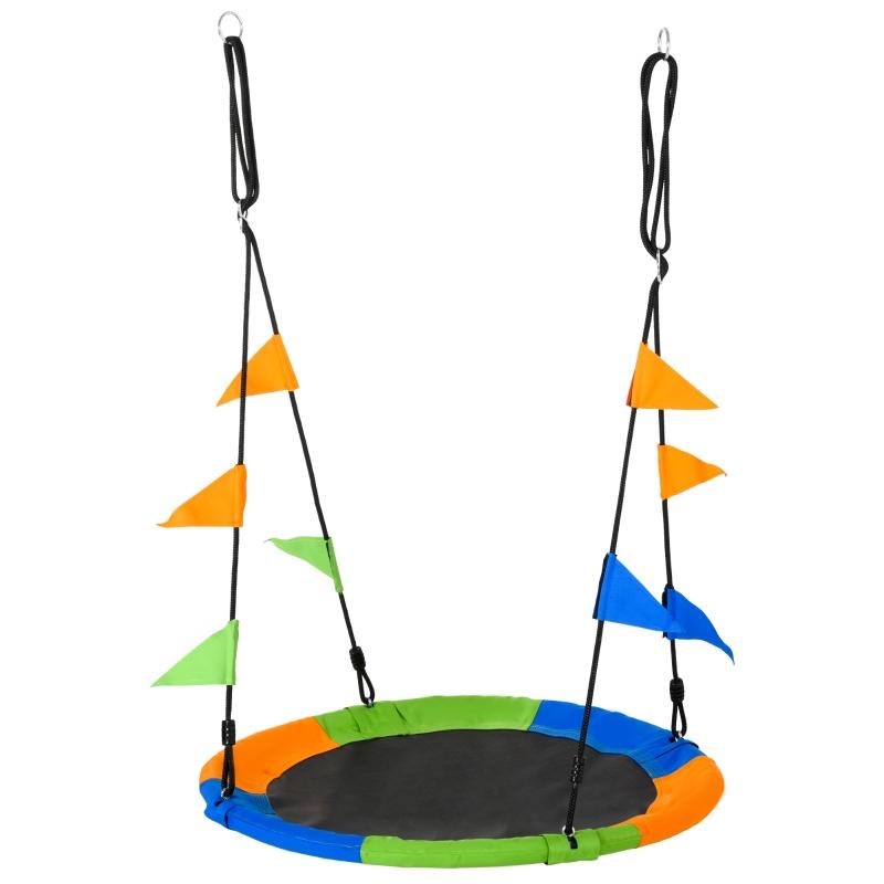 Outsunny Columpio de Jardín Nido Altura Ajustable con Cuerdas y Banderas para Niños y Adultos Carga 150 kg Interior y Exterior Ø100x180 cm Multicolor