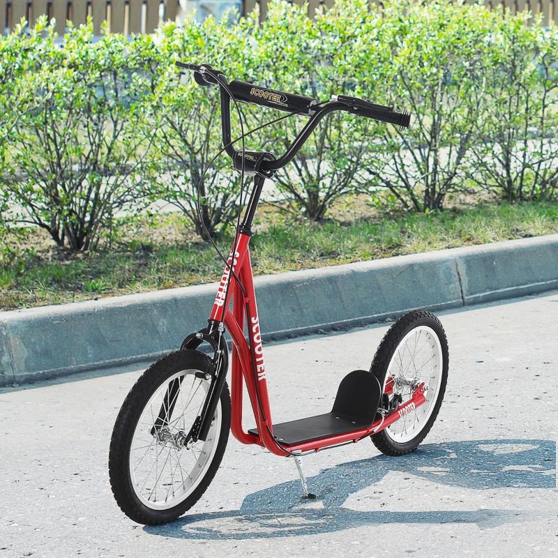 HOMCOM Scooter Patinete para Niños Mayores de 5 Años con Manillar Ajustable en Altura 2 Neumáticos con Doble Freno 139x58x90-96cm Rojo