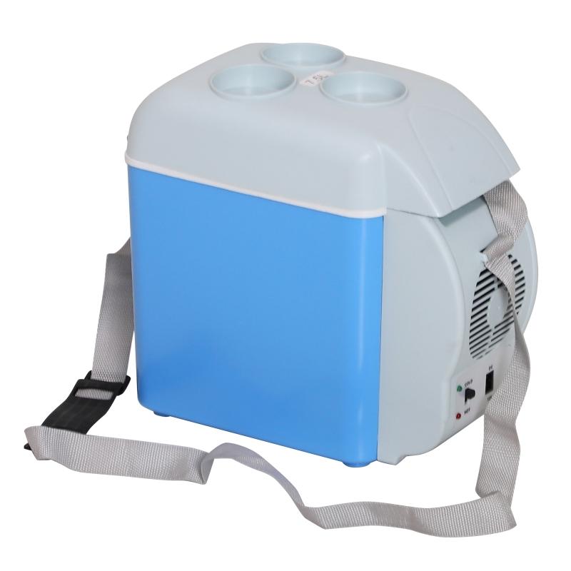 HOMCOM Nevera Termoeléctrica Portátil 7.5L de Coche Mini Nevera Eléctrica con 2 Funciones para Enfriar para Interior y Exterior Azul y Gris