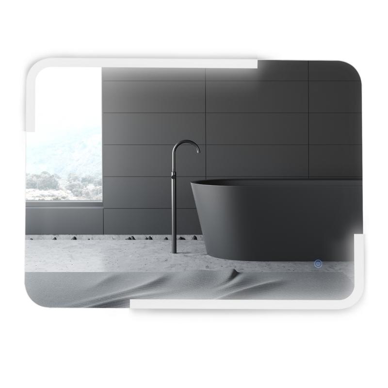 kleankin Espejo de Baño con Iluminación LED de Bajo Consumo Espejo de Pared con Botón Sensible al Tacto Impermeable 80x60x4 cm Plata