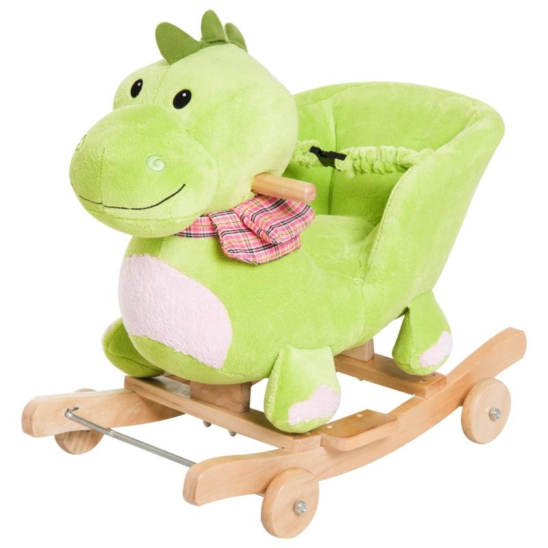 HomCom® Caballito Balancín Bebé +18 Meses Madera y felpa con Ruedas para Rodar Sonido Cinturón de Seguridad Mecedora Balancín