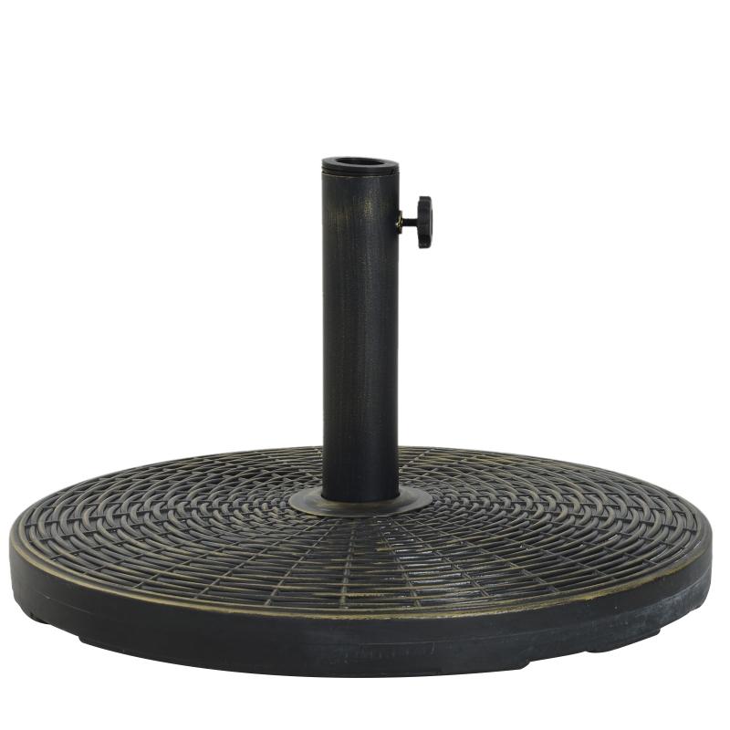 Outsunny® Base de Sombrilla Ajustable Universal Pie de Parasol de Cemento Soporte de Sombrilla Redondo Patio Jardín Playa Estilo Retro HDPE Φ53x30cm