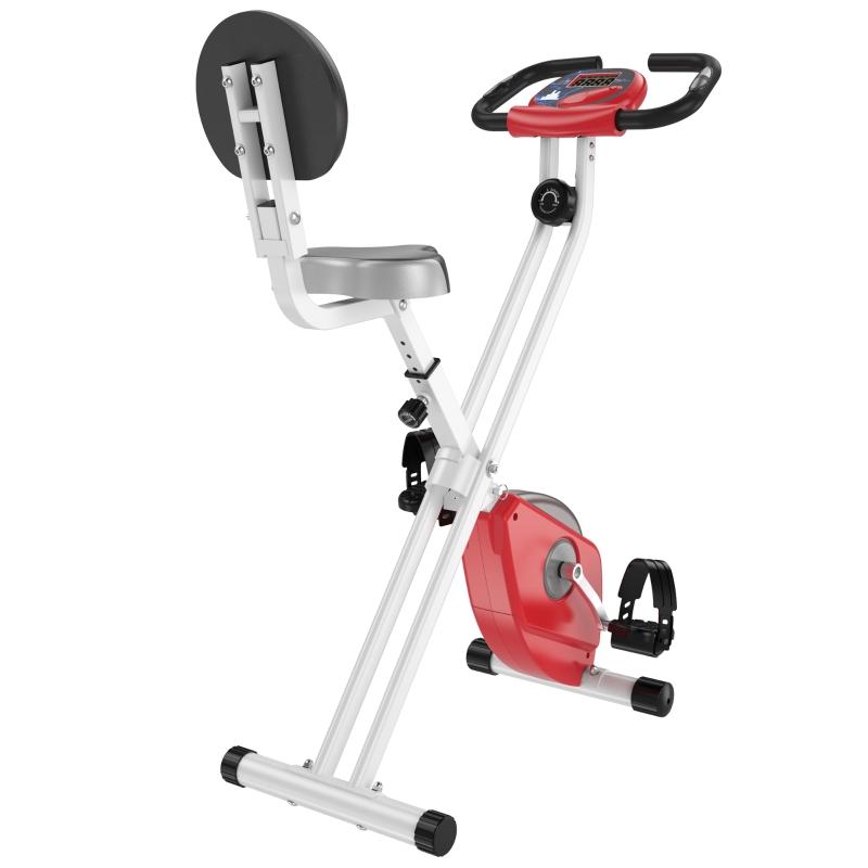 HOMCOM Bicicleta Estática para Ejercicios Profesional Vertical Plegable de Forma X Resistencia Magnética con Altura Ajustable Acero 43x97x109 cm Rojo