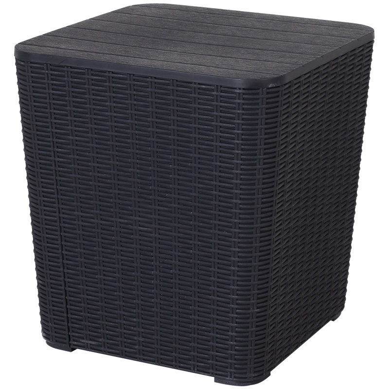 Outsunny 50L Outdoor Rattan-Effect Lift-Top Bar Tea Table Black