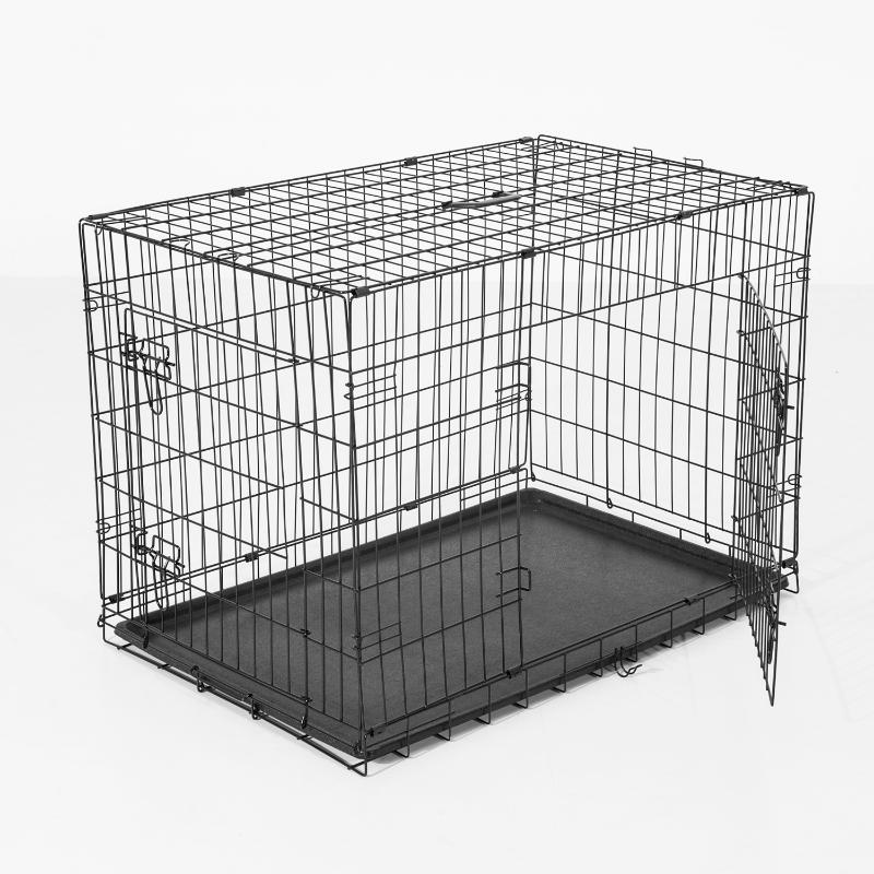 PawHut Transportin Jaula para Perros-Negro ABS Acero 122x77x82cm