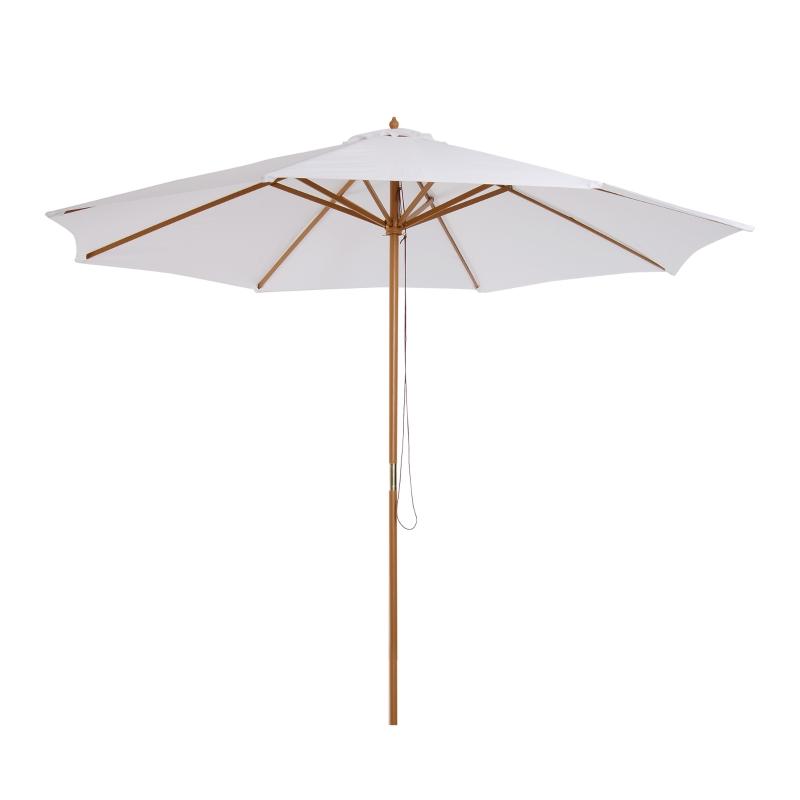 Outsunny Sombrilla Parasol para Terraza Jardín Piscina Patio Camping  de Madera y Tejido de Poliéster Ø300x250 cm Blanco Crema
