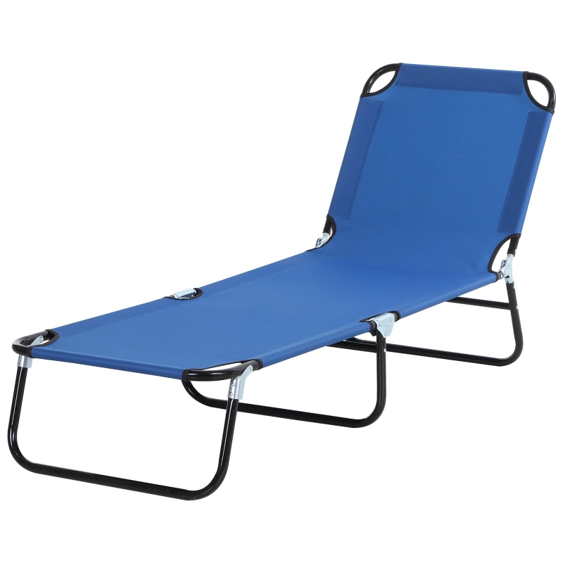 Outsunny Tumbona Plegable Reclinable con Ángulo Ajustable de 3 posiciones para Jardín Exterior Piscina Terraza Camping Carga 120 kg 190x56x28 cm Azul