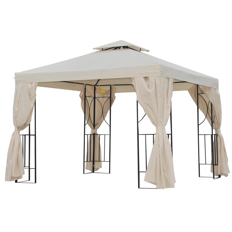 Outsunny Cenador de Jardín 295x295x265cm Pabellón con 4 Cortinas Laterales Extraíbles de Cremallera 8 Orificios de Drenaje y Doble Techo Beige