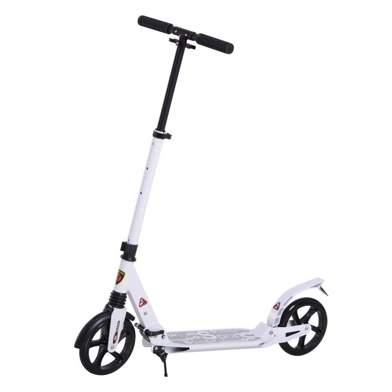 HOMCOM Patinete Plegable con Altura Ajustable Scooter con Manillar para Adultos y Niños (más de 14 años) Tipo Monopatín con Grandes Ruedas y Freno Carga 100kg