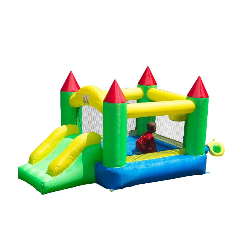 HomCom Castillo Hinchable para Niños - Tela de Nylon 420D -Color Verde - 300x180x160cm