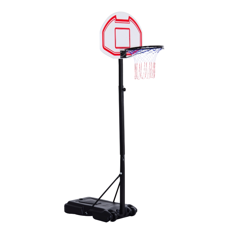 HOMCOM Portable Basketball Stand Net Hoop W/ Wheels-Black/White
