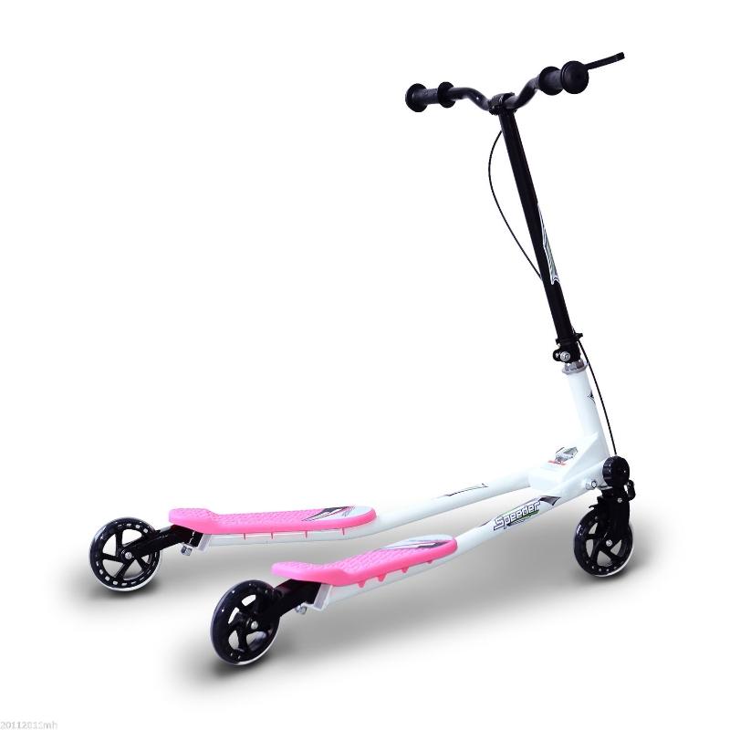 HOMCOM Patinete Scooter de 3 Ruedas Plegable Scooter de Oscilación Reductor para Niños +4 Años con Freno Manillar Ajustable Carga 50 kg 91x60x80cm