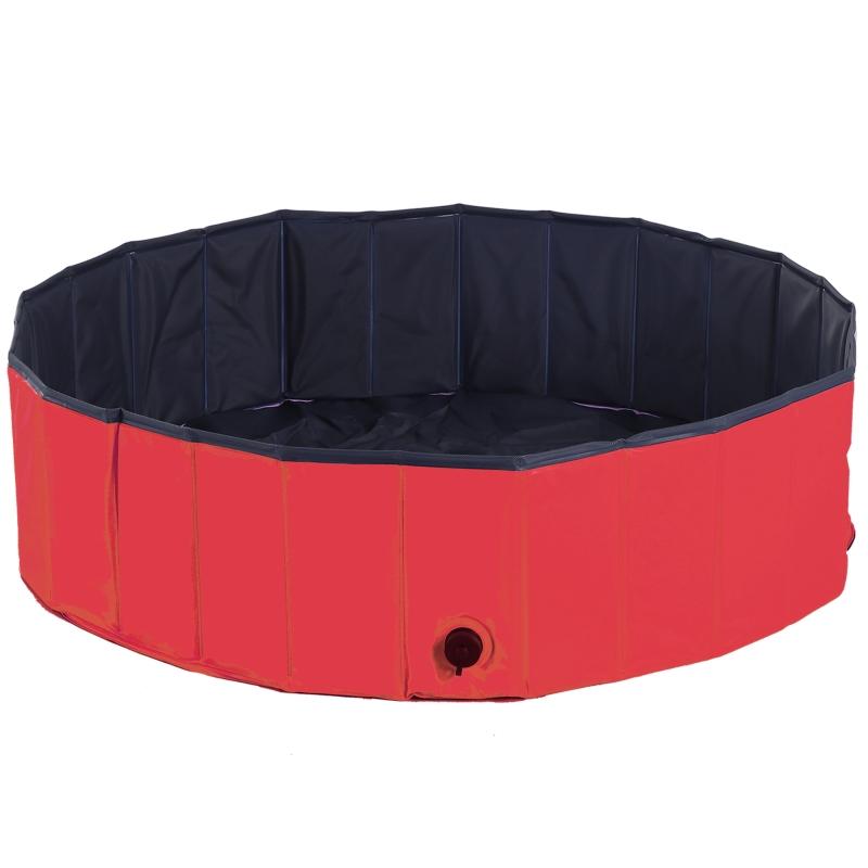 PawHut Piscina Plegable para Perros Gatos Ø120x30 cm Bañera Portátil para Mascotas PVC Antideslizante Múltiples Usos para Interiores y Exteriores Color Rojo