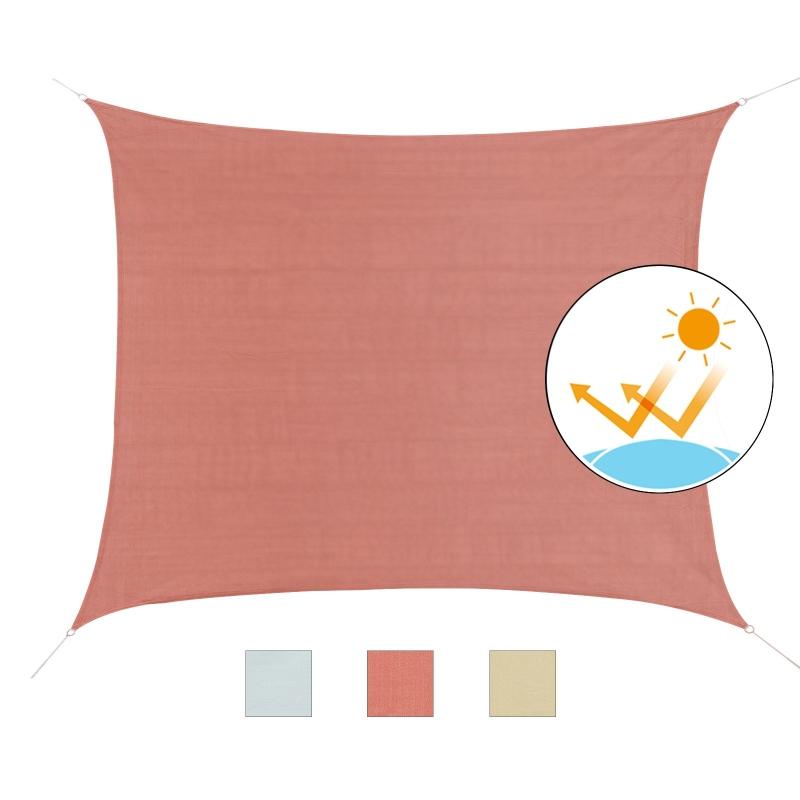 Outsunny Toldo Vela cuadrado 4x6m Toldo parasol Vela de Sombra Protección UV HDPE (polietileno de alta densidad) para Patio Terraza Jardín Rojo óxido