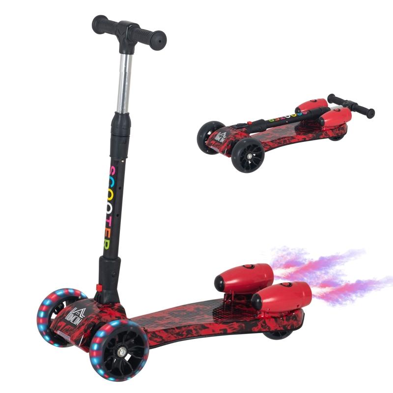 HOMCOM Patinete para Niños Scooter Plegable con Altura Ajustable de 4 Niveles y Música Luces y Nebulizador de agua +3 Años 61x26x63-81 cm Rojo