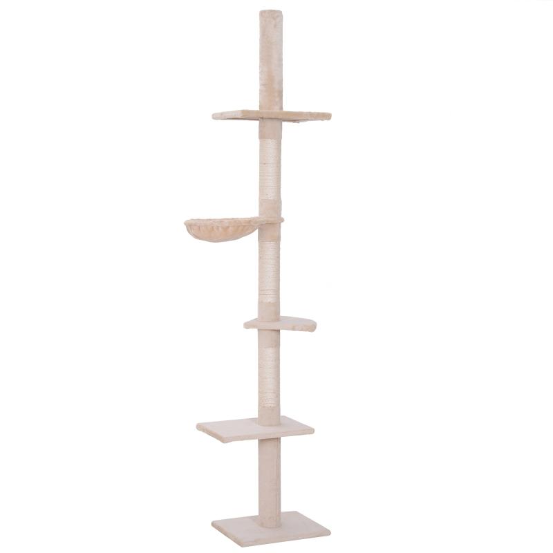 PawHut Árbol para gatos Torre Rascador de Gato de 5 Niveles Fijado al Techo Ajustable en Altura con Múltiples Plataformas 40x34x230-260 cm Beige
