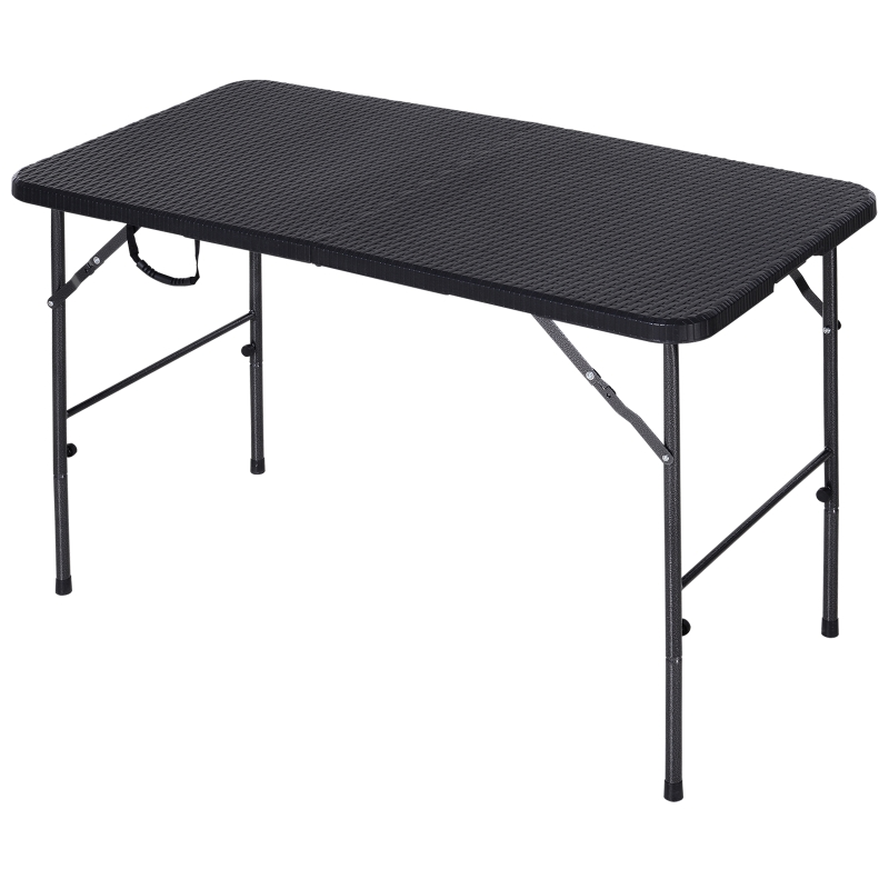 Outsunny Steel Frame 4ft Portable Folding Picnic Table Brown