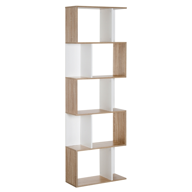 HOMCOM 5-tier S Shape Bookcase, Particle Board-White