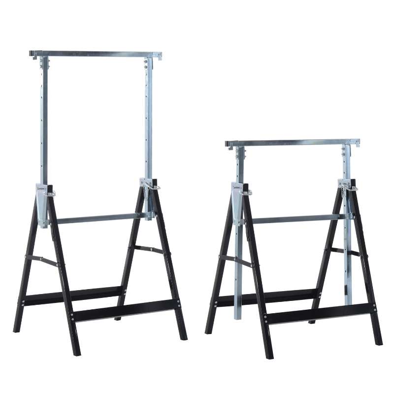 HOMCOM Set de 2 Andamios Caballete Telescópico Altura Ajustable Plegable Metálico Forma Cuadrada Estable Carga 200kg Acero 68x58x80-130 cm Negro