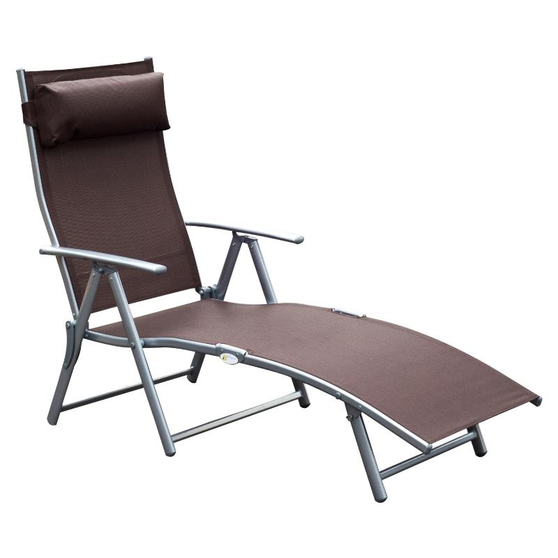 Outsunny® Tumbona Plegable Respaldo Ajustable a 7 Niveles con Almohada Textilene Resistente Relax en Exterior 137x63.5x100.5cm Acero