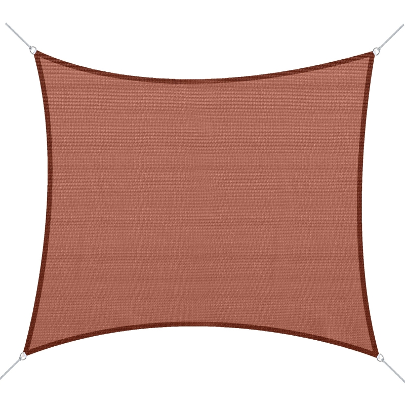 Outsunny Toldo Vela Rectangular 3x4m Sombrilla Cuadrada Polietileno HDPE 185 g/m² para Terraza Jardín Color Rojo