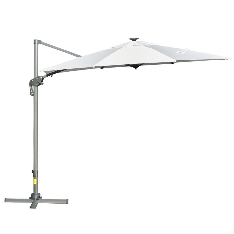 Outsunny Sombrilla de 300 cm de Aluminio Luces LED Protección UV 50+ Giratorio 360° con Manivela Panel Solar Techo Reclinable Base Cruzada Blanco