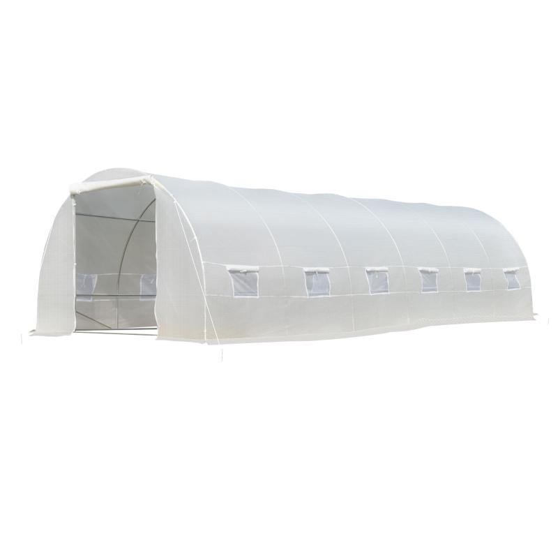 Outsunny Invernadero de Túnel 8x3x2 m Acero y PE 140g/m² Cultivo Plantas Tomates Verduras con 12 Ventanas y Puerta Enrollable Blanco