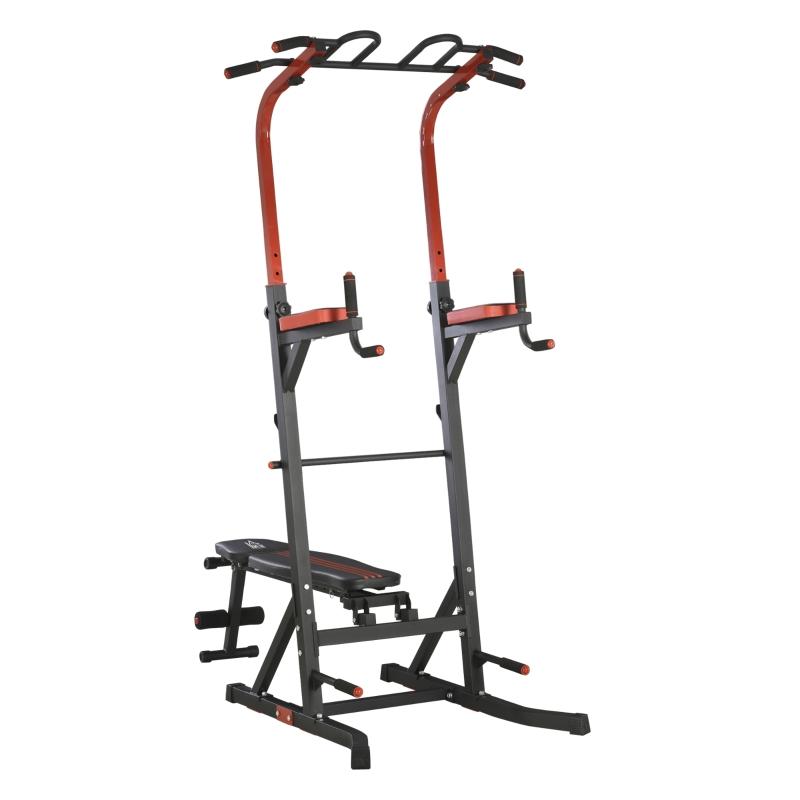 HOMCOM Estación de Musculación Torre de Entrenamiento con Altura Ajustable y Respaldo Regulable en 7 Posiciones Barra de Dominadas Fitness Flexiones Acero 108x178x202-238 cm Negro