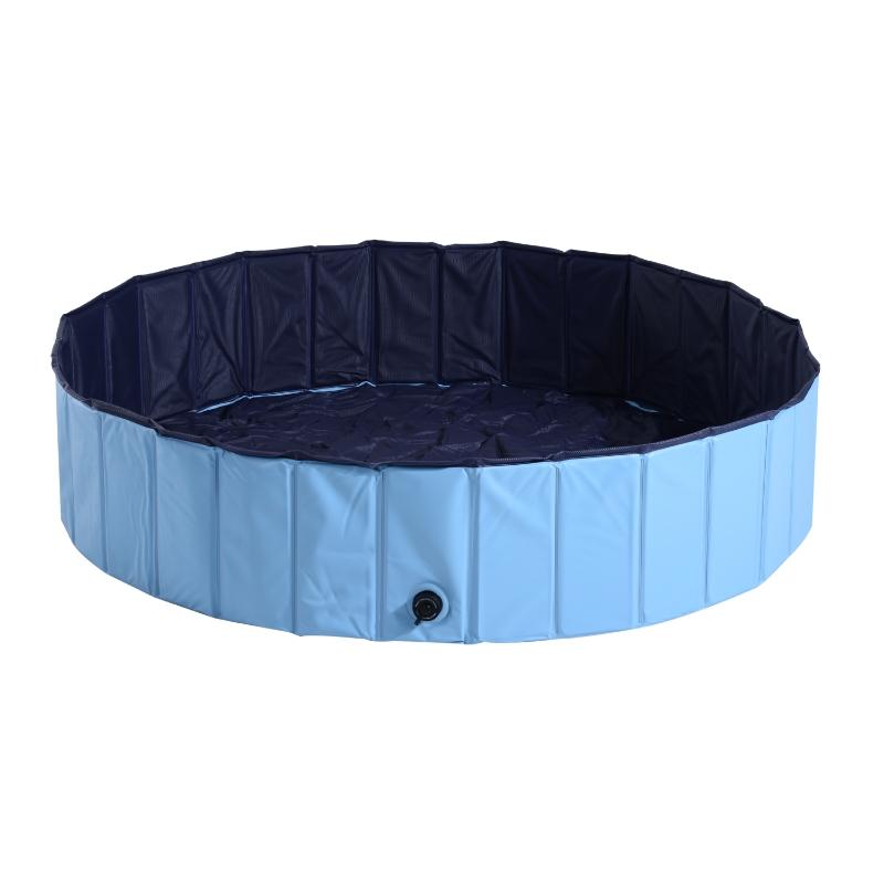 PawHut Bañera para Perros Gatos Plegable Φ140x30cm Piscina para Mascotas Natación Baño  Color Azul