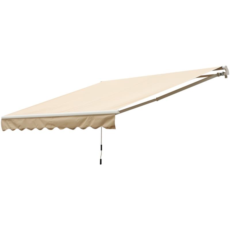 Outsunny Toldo Terraza 2,95x2,5m Balcón Patio Toldo Manual Plegable de Aluminio con Manivela Impermeable Protección Solar UV para Jardín Exterior Aluminio Acero Tela de Poliéster Color Crema