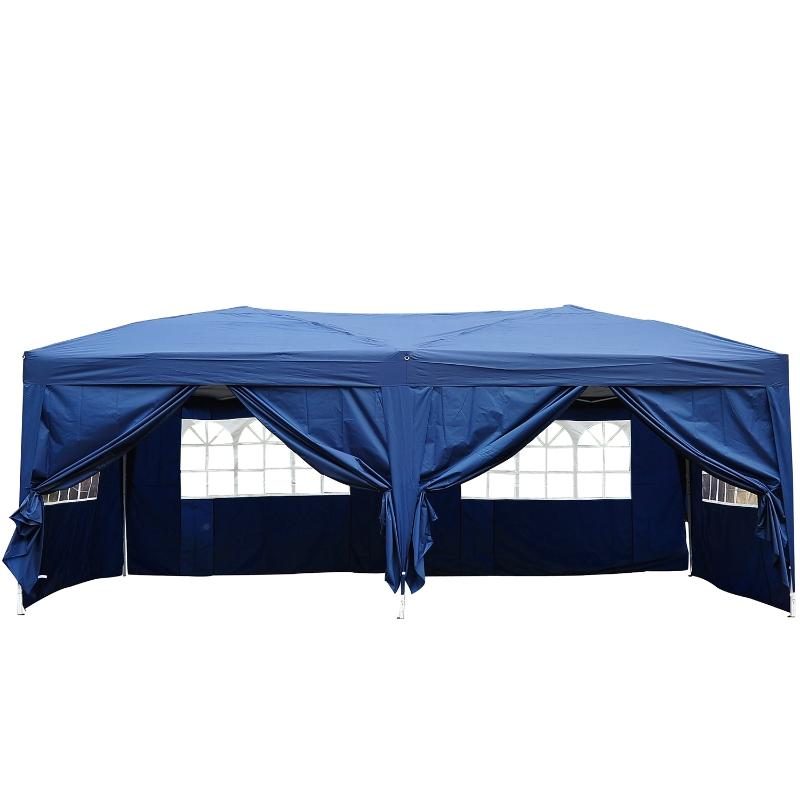 Outsunny Carpa Plegable 5,91x2,97x2,55 m en Acordeón con 4 Paneles laterales y 2 Cortinas +Bolsa Transporte  Color Azul