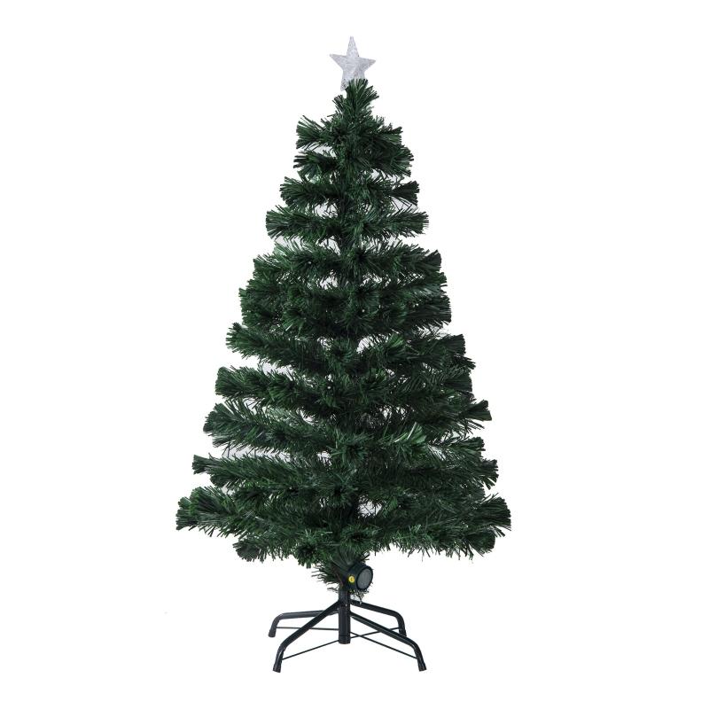 HOMCOM Árbol de Navidad Artificial con fibra óptica Φ60x120cm + 16 LED de 3 Colores perfecto para Decoración Navidad