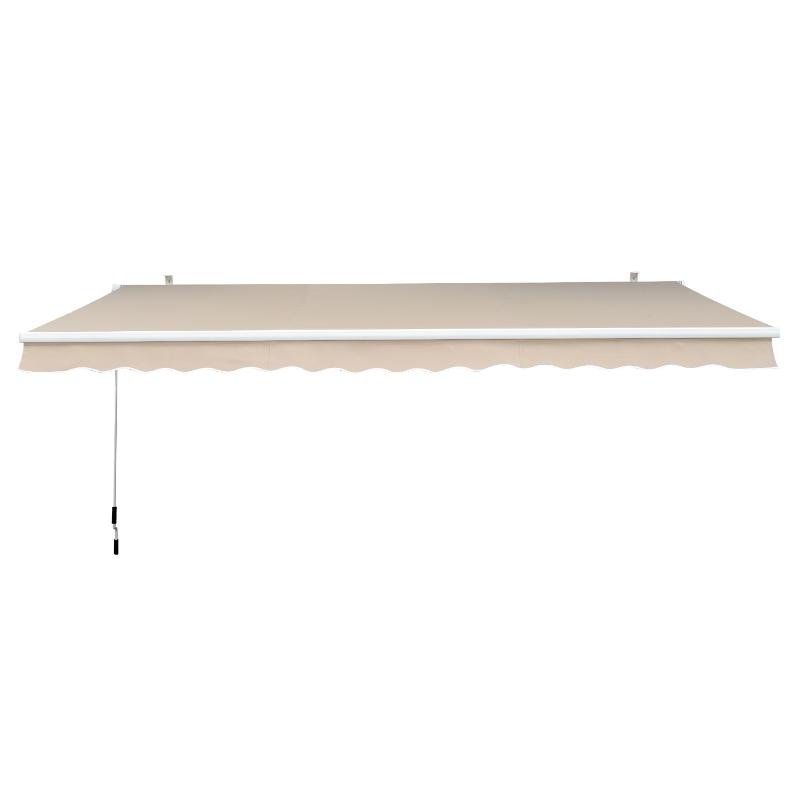 Outsunny Toldo Manual Plegable de Aluminio de 2,95x2,5m para Exterior con Ángulo Ajustable y Manivela para Patio Balcón Jardín Terraza Color Crema