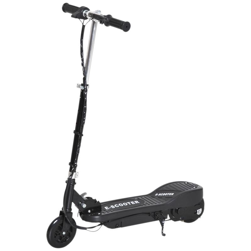HOMCOM Patinete Eléctrico Niño 7-14 Años E-Scooter Plegable Manillar Ajustable 12km/h Batería Recargable 12V Monopatín 120W Carga 50kg Negro