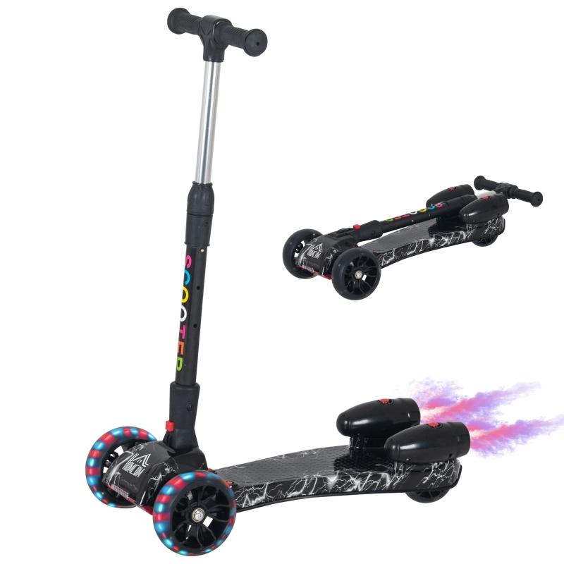HOMCOM Patinete para Niños Scooter Plegable con Altura Ajustable de 4 Niveles y Música Luces y Nebulizador de agua +3 Años 61x26x63-81 cm Negro