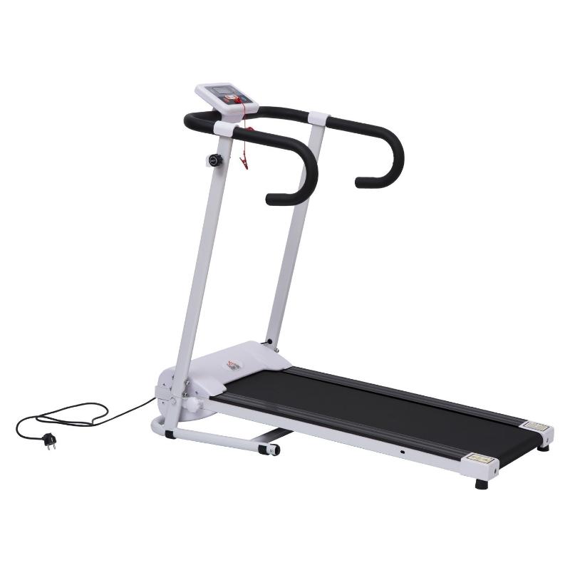 HOMCOM Cinta de Andar y Correr Plegable y Eléctrica de 500W para Fitness 1-10Km/h con Pantalla LCD y Carga Máx. 110kg Blanco y Negro