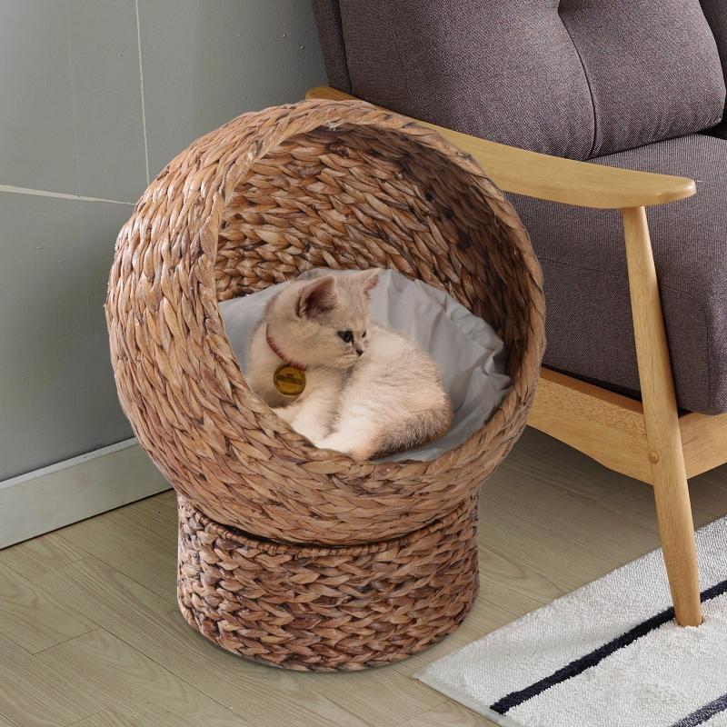 PawHut Cama para Gatos Desmontable Casa para Mascotas Menos de 5kg Diseño Moderno Cojín Extraíble Suave y Cálido 42x33x52cm Marrón y Beige
