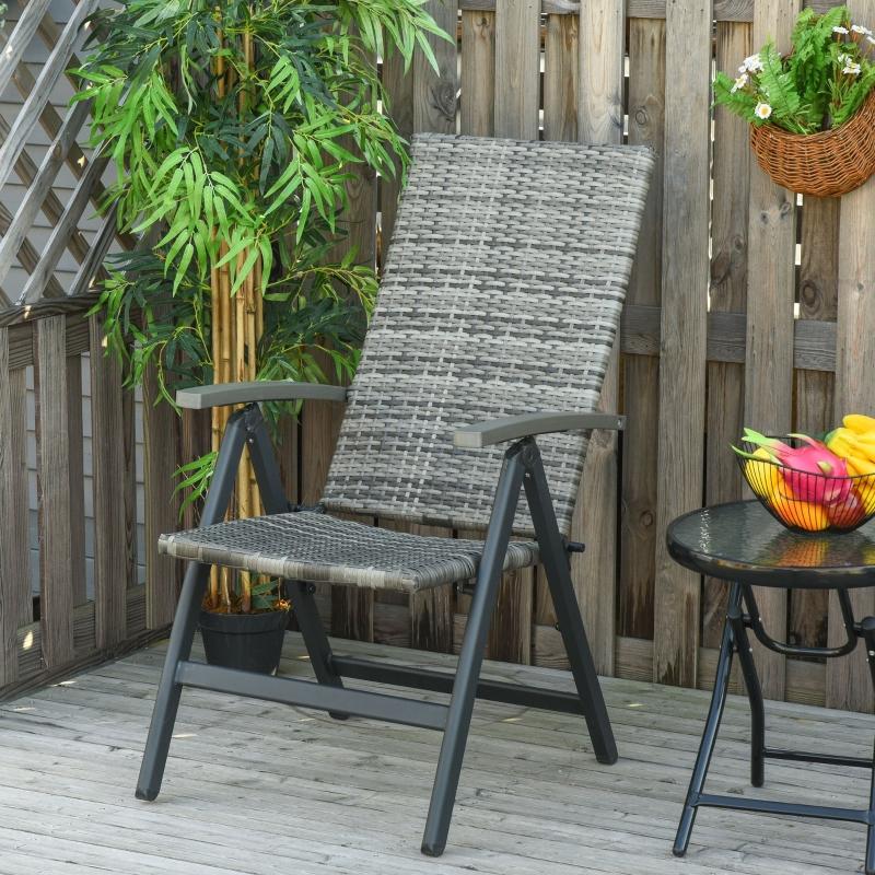 Outsunny Silla Plegable de Ratán con 5 Posiciones Silla Reclinable de Aluminio para Jardín Balcón Terraza Exterior Carga 160 kg 59x68x107 cm Gris