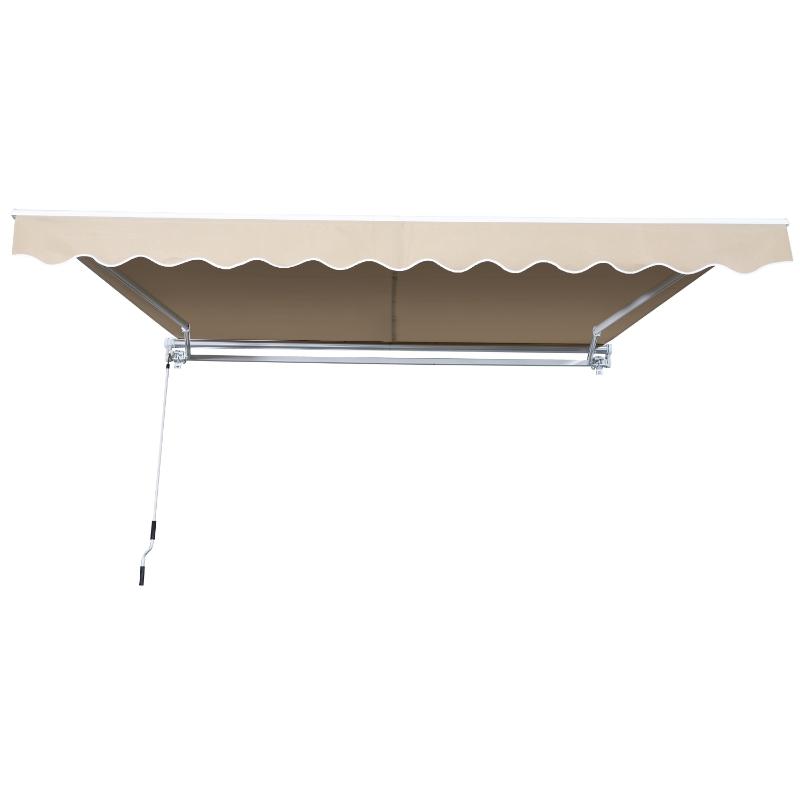 Outsunny Toldo Manual Plegable de Aluminio 3,5x2,5m Toldo Patio Balcón Terraza con Manivela Impermeable Protección Solar UV para Jardín Exterior Aluminio Acero Tela de Poliéster Color Crema